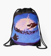 The diver, watercolor Drawstring Bag