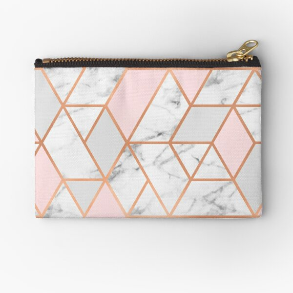 Rose Gold, Pink, Grey & Marble Geo Lines Zipper Pouch