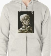 Head of a skeleton with a burning cigarette Zipped Hoodie