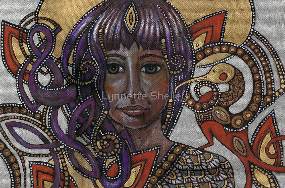 A Little Bird Told Me (Self-Portrait with Celtic Hair) by Lynnette Shelley