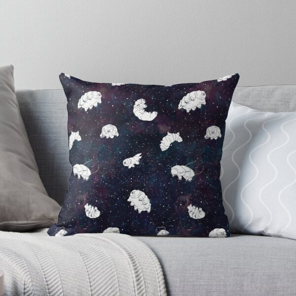 tardigrades in space pattern Throw Pillow