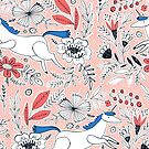 « corail marine et rose licorne floral » par michellelobelia