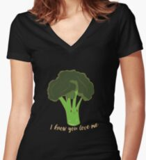 Funny Vegetable I Love Broccoli Vegan Cute Gift Idea Women's Fitted V-Neck T-Shirt