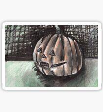 Whimsical Mixed Media Jack o Lantern Design Sticker