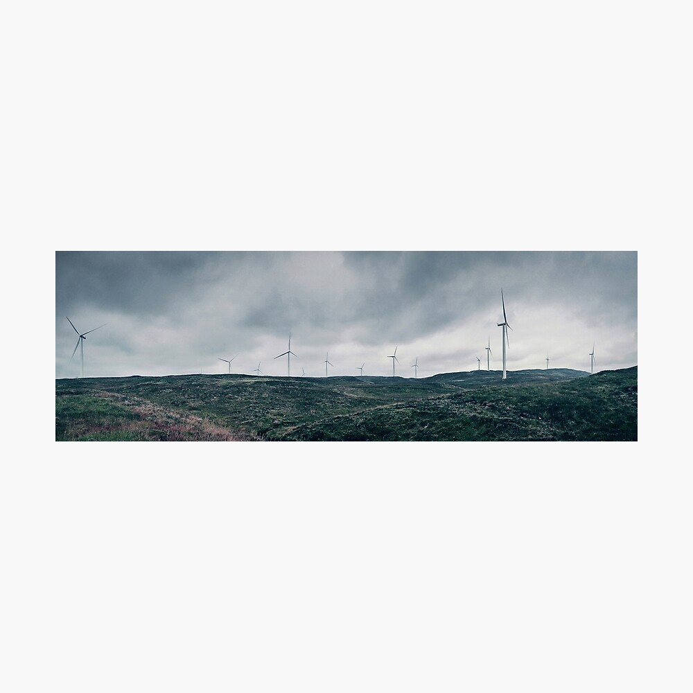 Landscape Panorama with Wind Turbines Photographic Print