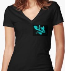 Black and Blue Love Women's Fitted V-Neck T-Shirt