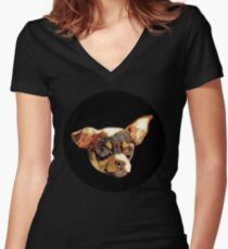 Dog chihuahua head Women's Fitted V-Neck T-Shirt