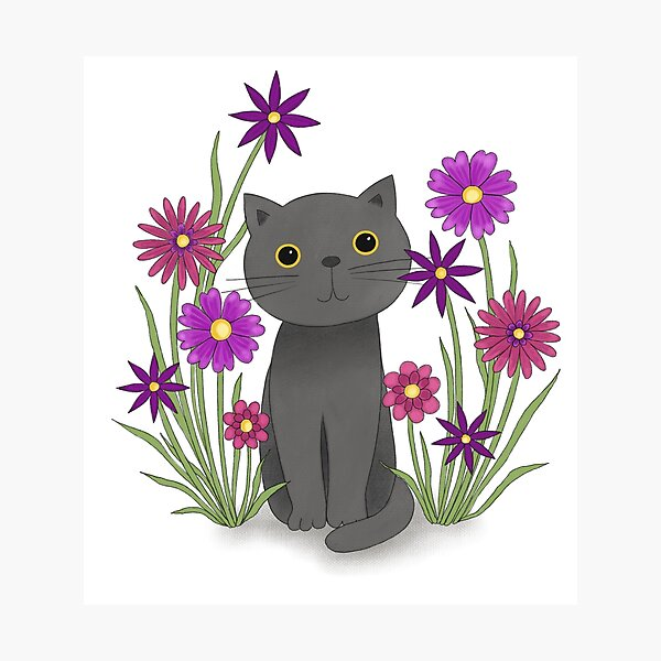 Cat with Flowers Fotodruck