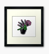 Neon Hand and Rose Framed Print