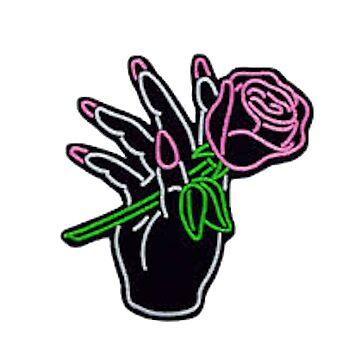 Mano de neón y rosa de hcross214