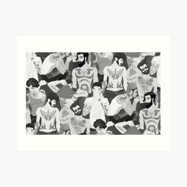 Hot guys with tattoos- black and white edition. Art Print