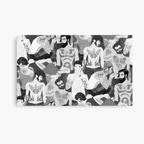 Hot guys with tattoos- black and white edition. Canvas Print