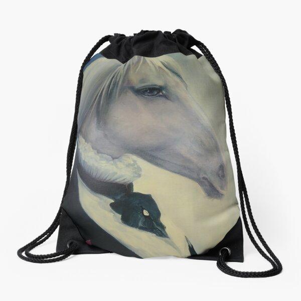 #Portrait of a #horse in #profile in #coat and with an #order. Quebec, #Quebec, Canada, #Canada, #funiculaire, #funiculer, Mane, #Mane Drawstring Bag