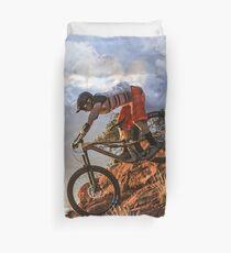 Mountain Bike in Rugged Mountain Terrain in Sunbeams Duvet Cover