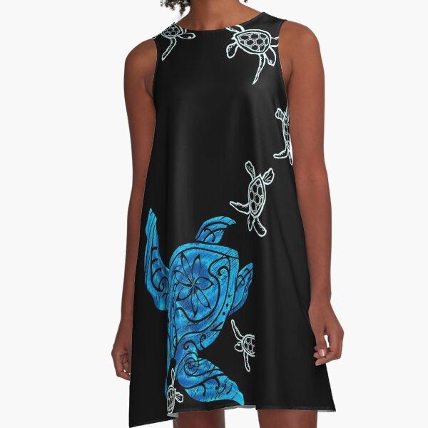 Hawaiian Watercolor Ohana Honu A-Line Dress