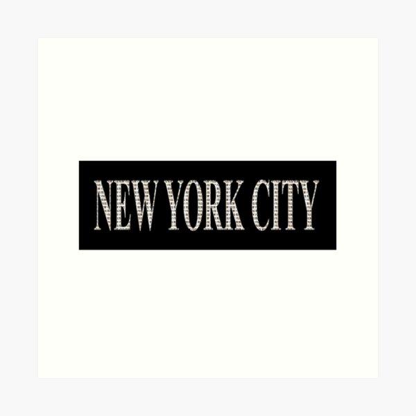 New York City (white type on black plynth on white background) Art Print