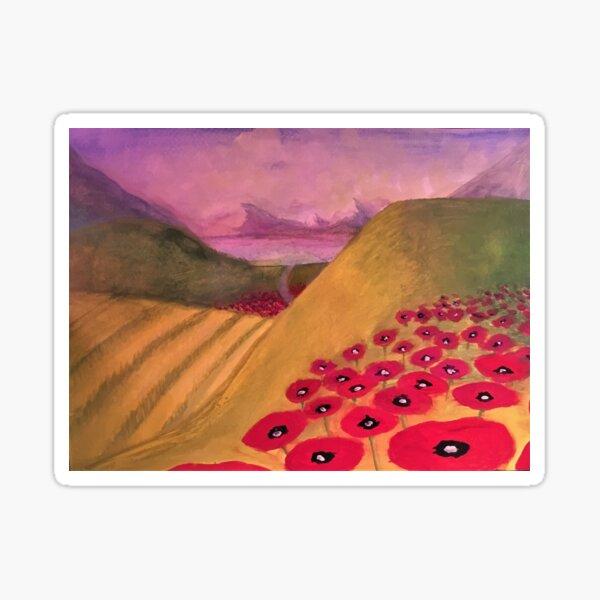 Poppy Stream II - EVENING (version 2 - see also version 1!) - original painting by mjh, 2018 Sticker