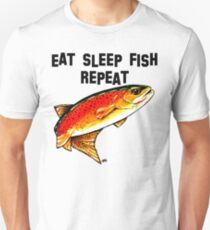 Eat Fish Sleep Repeat Yellowstone Cutthroat Trout Rocky Mountains Fish Char Jackie Carpenter Art Gift Father Dad Husband Wife Best Seller Unisex T-Shirt