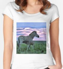 Zebra and her young Women's Fitted Scoop T-Shirt