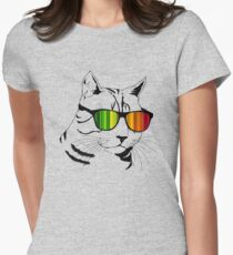 Cool Cat Mirror Rainbow Shades.  Womens Fitted T-Shirt