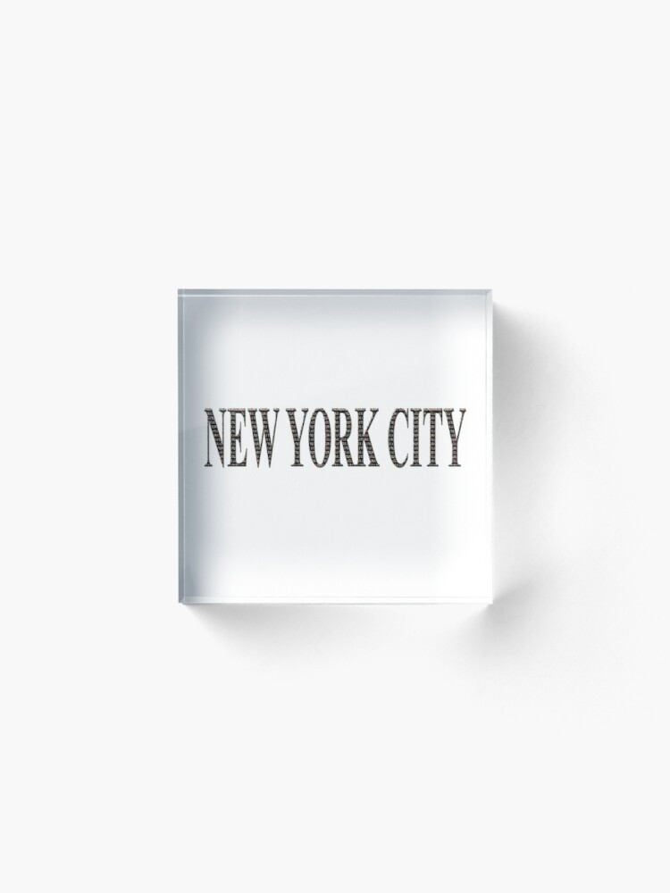 Alternate view of New York City (black type ON WHITE) Acrylic Block