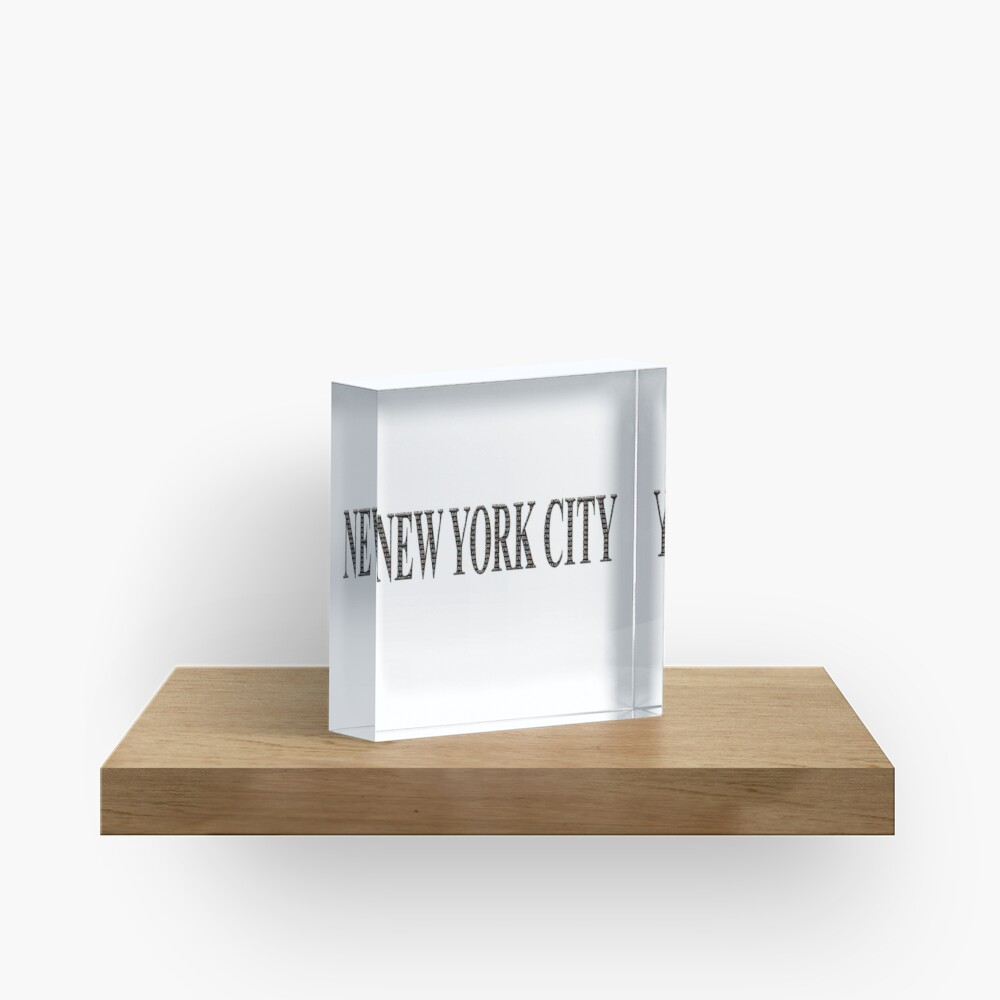 New York City (black type ON WHITE) Acrylic Block