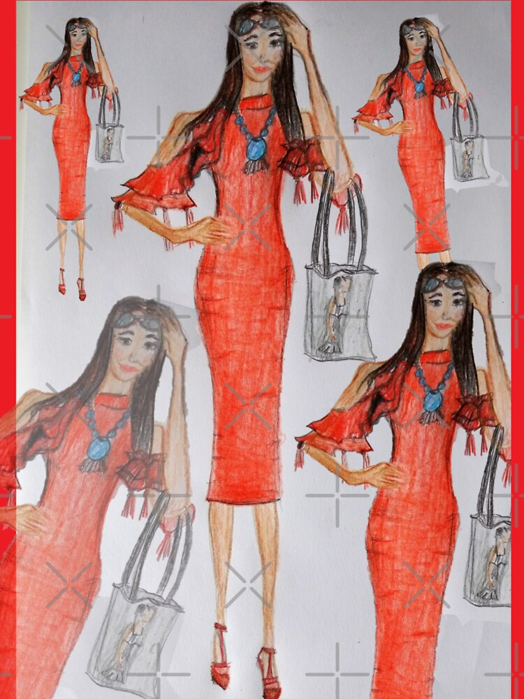 Fashion Illustration Lady in Red by IvanaKada