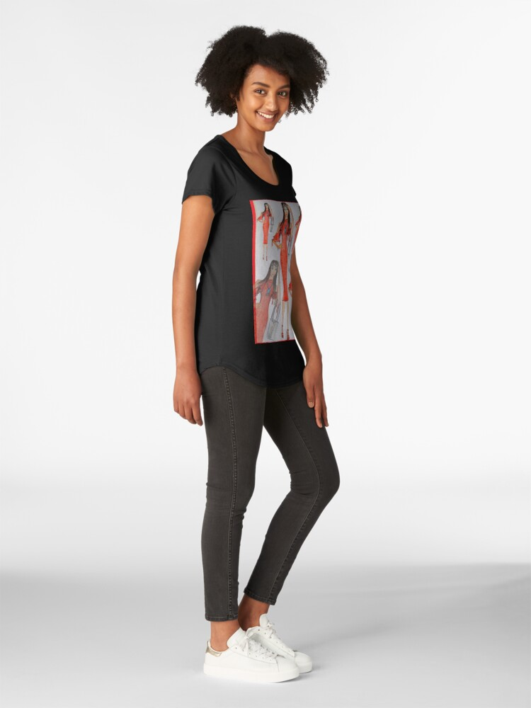 Alternate view of Fashion Illustration Lady in Red Premium Scoop T-Shirt