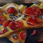 Pepperoni and Mushrooms Pizza Slice Painting art food still life  by Pamela Burger
