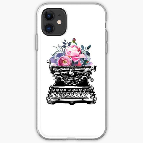 Vintage typewriter, watercolor flowers, flowers, watercolor, writer gift, writer, type, typewriter iPhone Soft Case