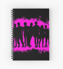 Boy child pink and black silhouette Spiral Notebook