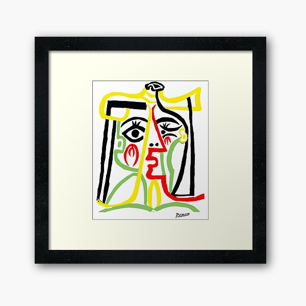 Pablo Picasso, Jacqueline with Straw Hat 1962, Artwork for Posters Prints Tshirts Women Men Kids Framed Art Print