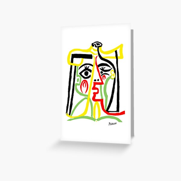 Pablo Picasso, Jacqueline with Straw Hat 1962, Artwork for Posters Prints Tshirts Women Men Kids Greeting Card