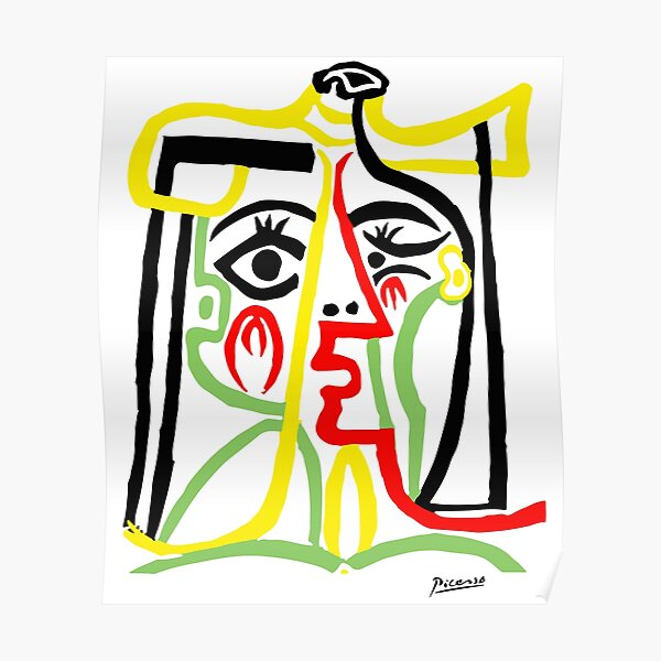 Pablo Picasso, Jacqueline with Straw Hat 1962, Artwork for Posters Prints Tshirts Women Men Kids Poster