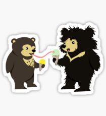 Sun Bear & Sloth Bear Eating Ice Cream Cones Sticker