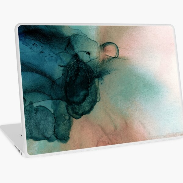 Blue and Peach Abstract Painting Laptop Skin