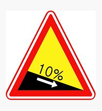 South Korean Traffic sign (Descent) Photographic Print