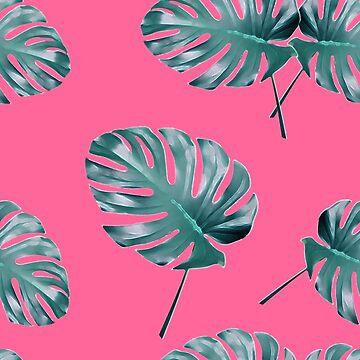 Monstera Leaves blue on pink by ElysiumDesign