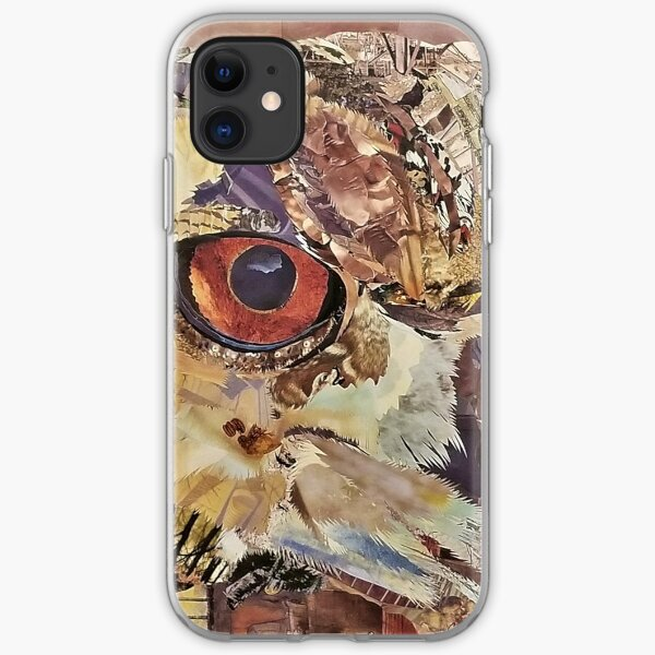 Great Horned Owl Collage Art - CE White Art iPhone Soft Case