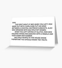 Anonymous Letter To Sammi  Greeting Card