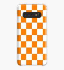 Orange und weißes Tennessee Checkerboard Hülle & Klebefolie für Samsung Galaxy
