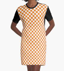 Orange and White Tennessee Vols Checkerboard Graphic T-Shirt Dress
