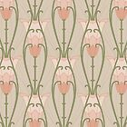 Light Pink Art Nouveau Inspired Floral Pattern by Eyestigmatic