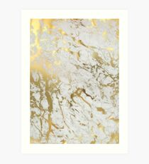Gold marble on white (original height quality print) Art Print