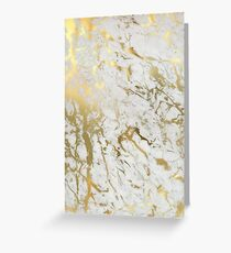 Gold marble on white (original height quality print) Greeting Card