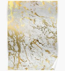 Gold marble on white (original height quality print) Poster