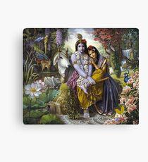The Divine All-Attractive Couple - Krishna and Radha Canvas Print
