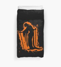 Witch witchcraft orange and black silhouette Duvet Cover