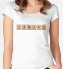 Wood Scrabble Sunday! Women's Fitted Scoop T-Shirt