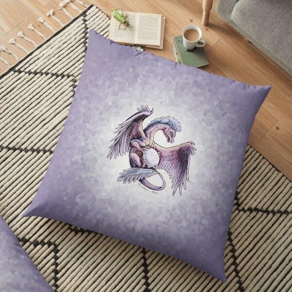 Birthstone Dragon: October Opal Illustration Floor Pillow